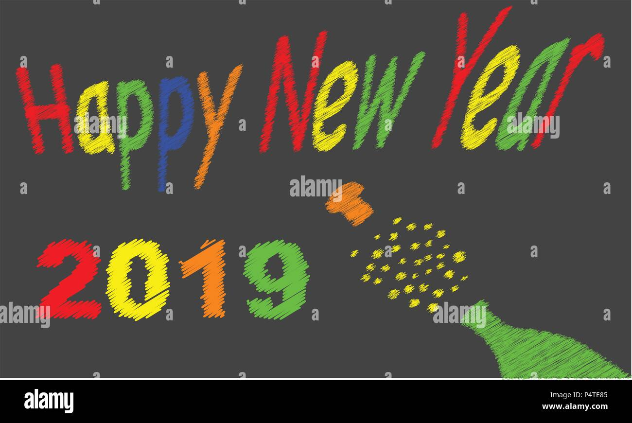 A worn out old blackboard with a happy new year message for 2019and a bursting bottle of bubbly - Stock Vector