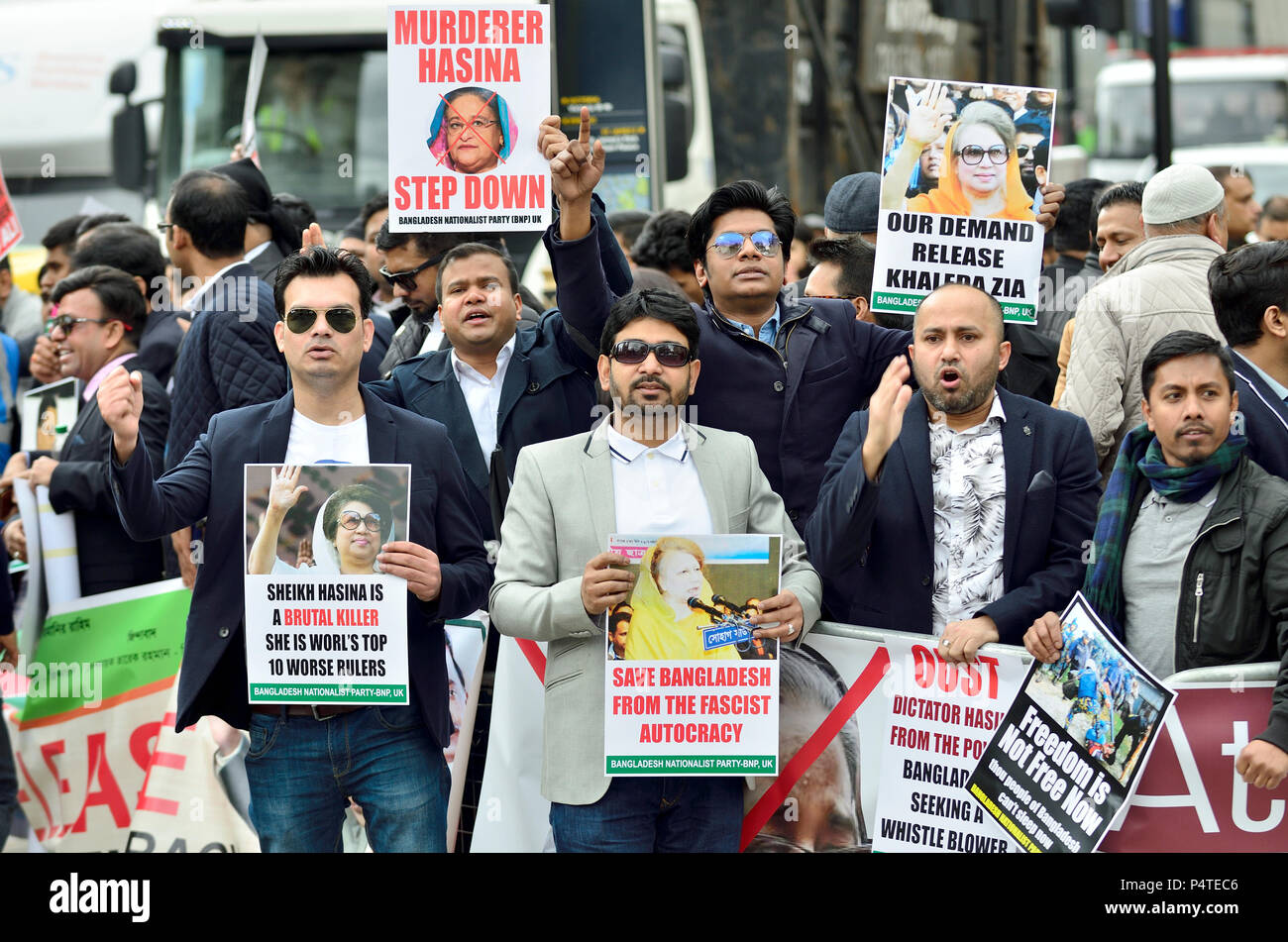 London 16th April 2018. Bangladeshi protesters opposite the Queen Elizabeth Conference Centre at the start of the Commonwealth Heads of Government Con - Stock Image