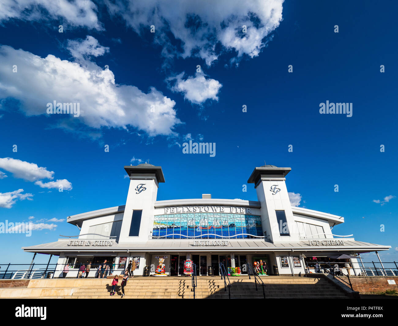 Felixstowe Pier - the refurbished pier at the English seaside resort and container port of Felixstowe, originally opened in 1905, refurbished 2017 - Stock Image