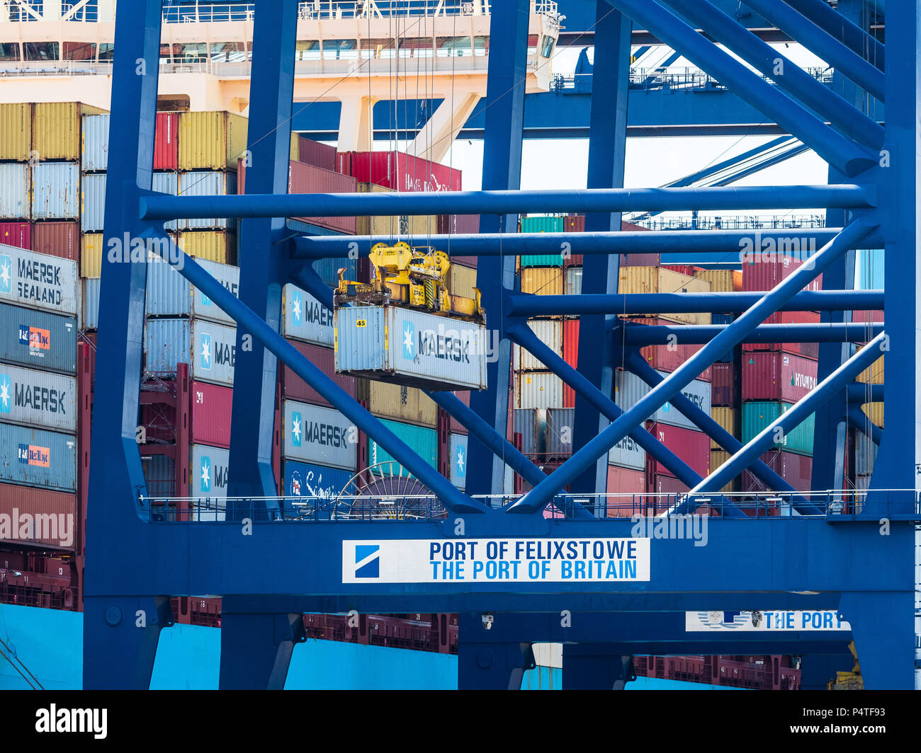 International Trade, World Trade. Container ships unload and load containers at the Port of Felixstowe, the UK's largest container port. Stock Photo