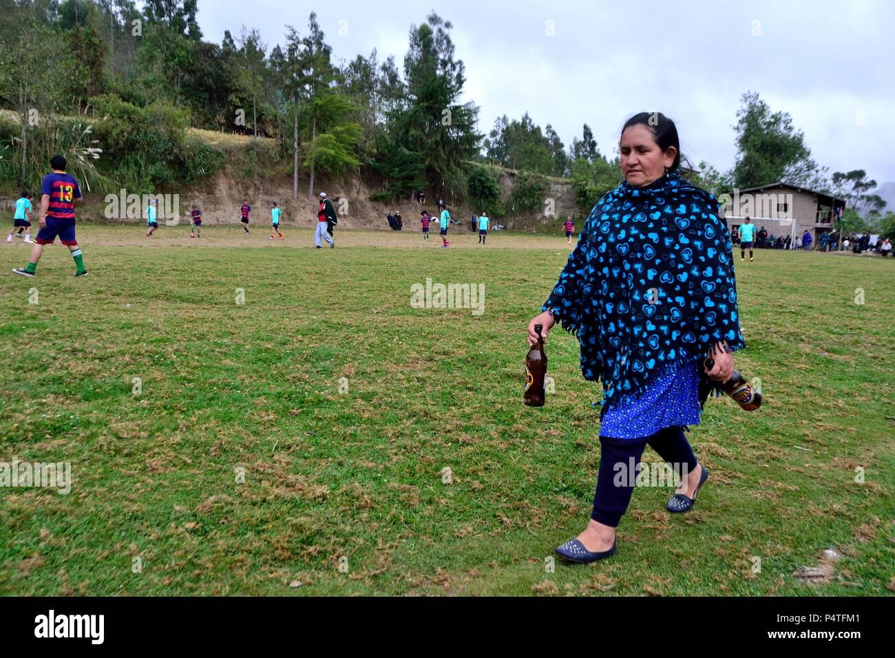 Playng Football in SALALA ' Las Huaringas '  - HUANCABAMBA.. Department  of Piura .PERU                 - Stock Image