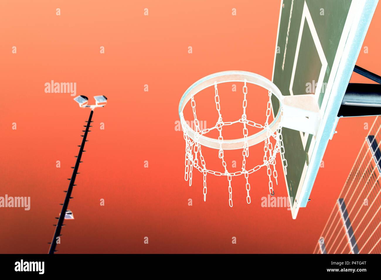 Basketball, Streetcoourts, Negative Shot - Stock Image