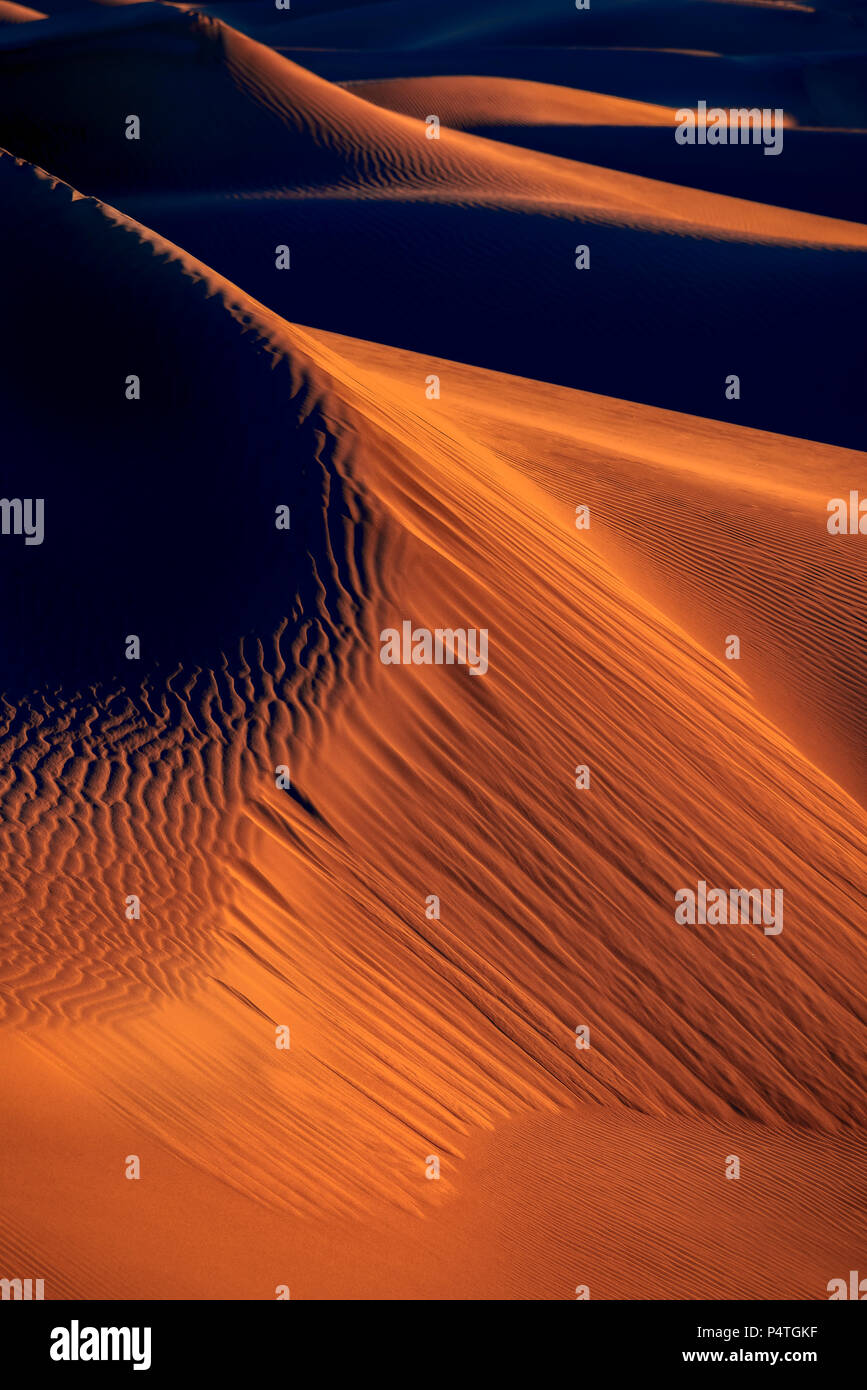 Early Morning at Mesquite Flats Sand Dunes - Stock Image