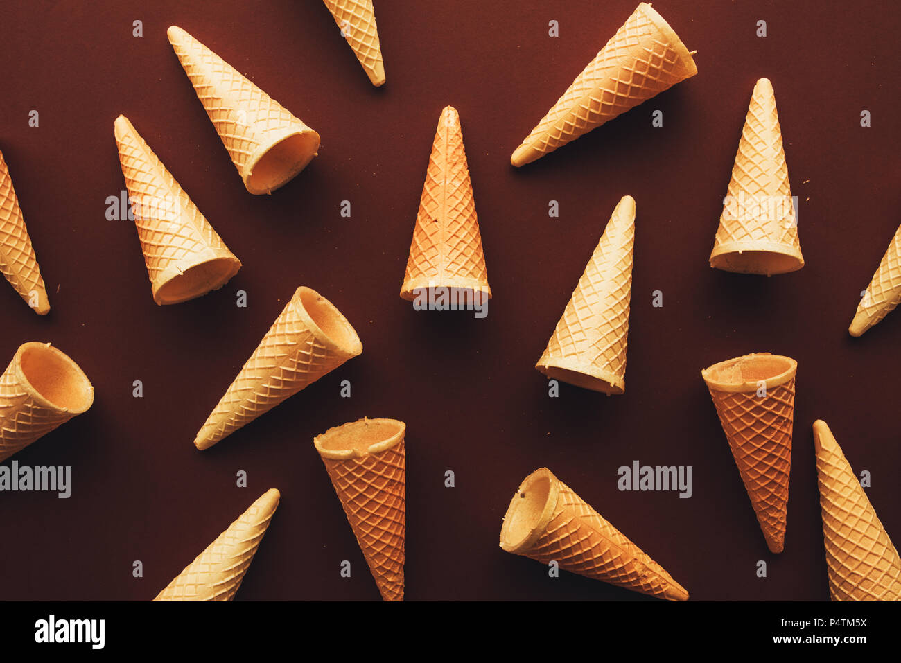 Ice cream cones from above, minimal flat lay composition with copy space - Stock Image