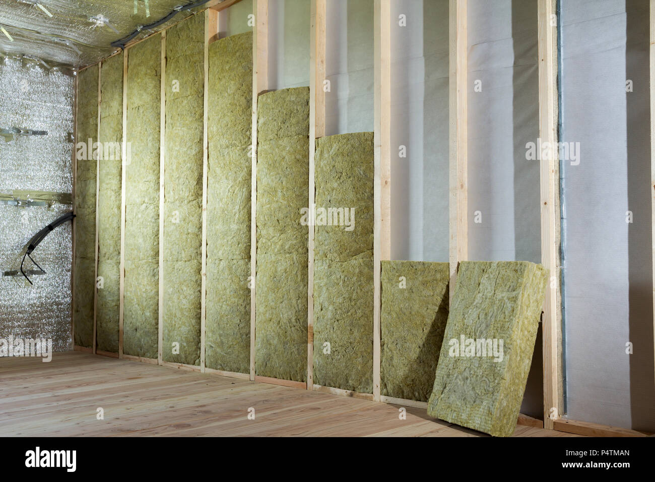Wooden frame for future walls insulated with rock wool and ...