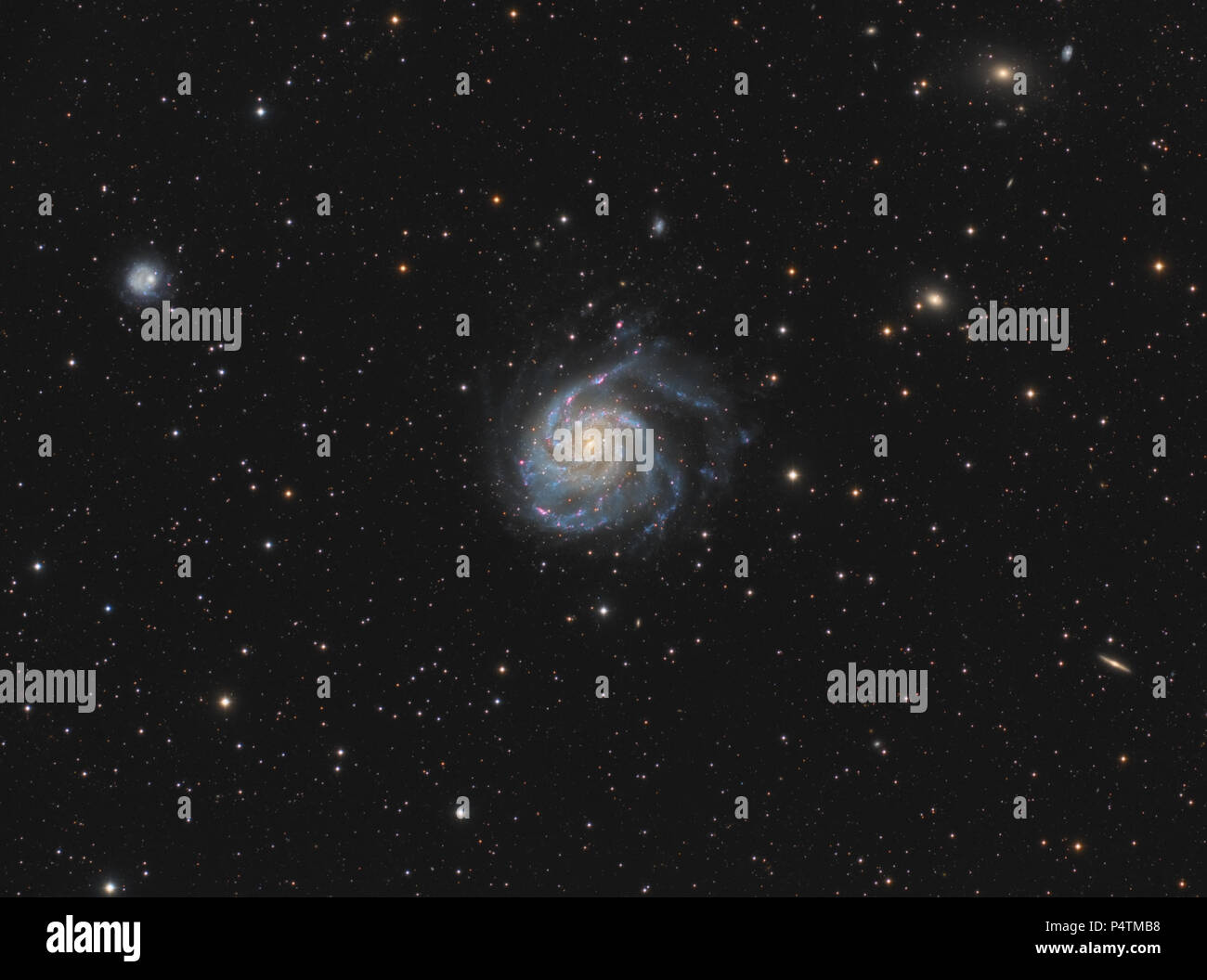 Messier 101 is a spiral galaxy located some 21 million light years distant in the constellation of Ursa Major. It was first observed on 27 March 1781  - Stock Image