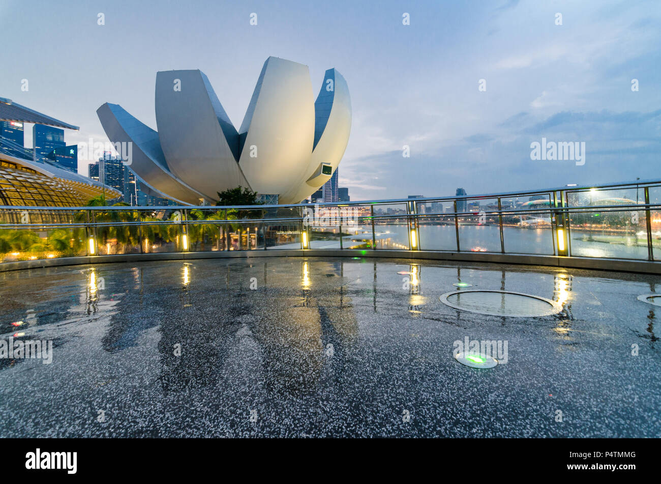 Beautiful blue hour with singapore art science museum as seen from beautiful blue hour with singapore art science museum as seen from helix bridge the architecture is said to be a form reminiscent of a lotus flower izmirmasajfo