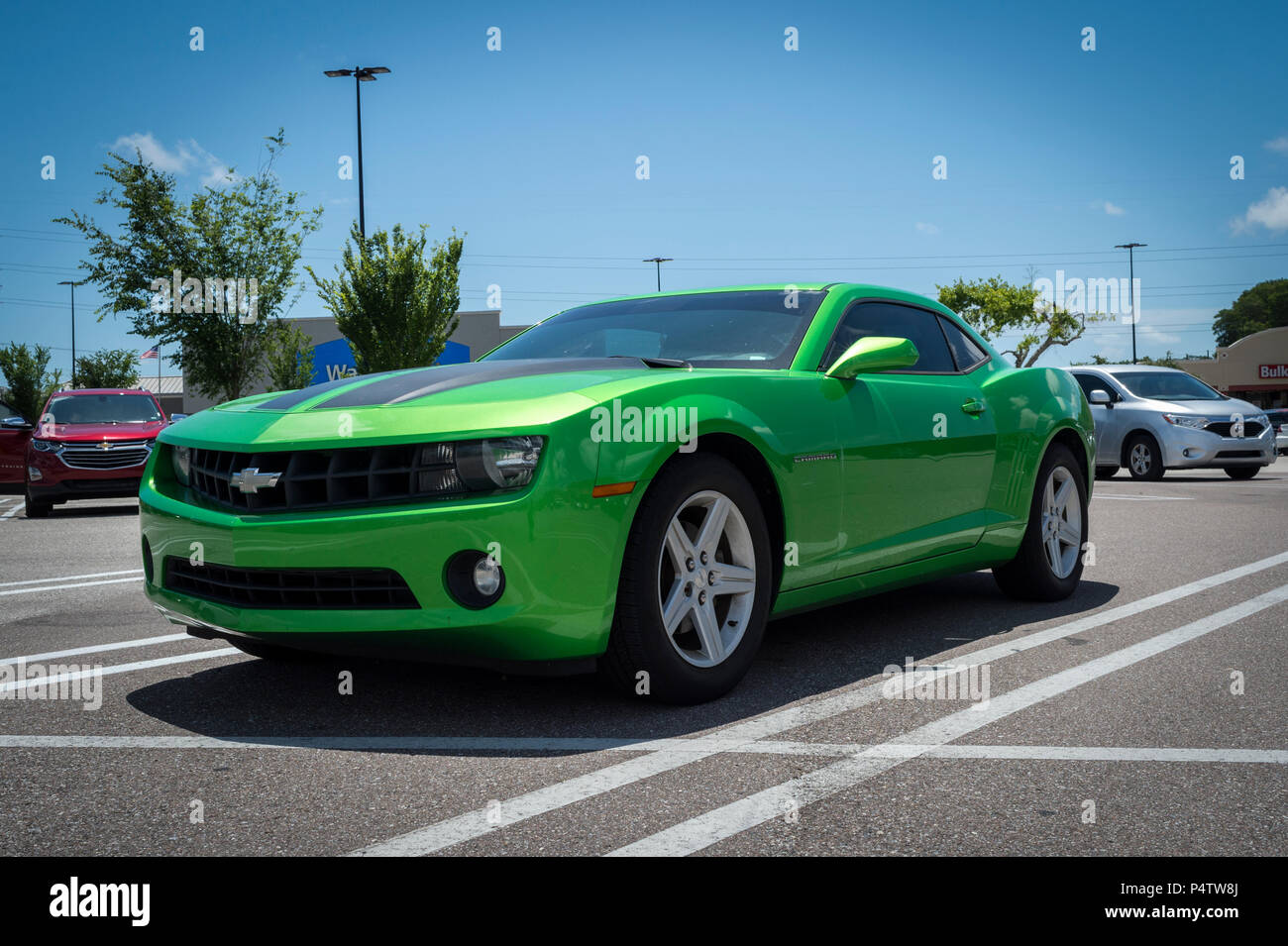 Chevrolet Camaro In Green American Muscle Car Stock Photo