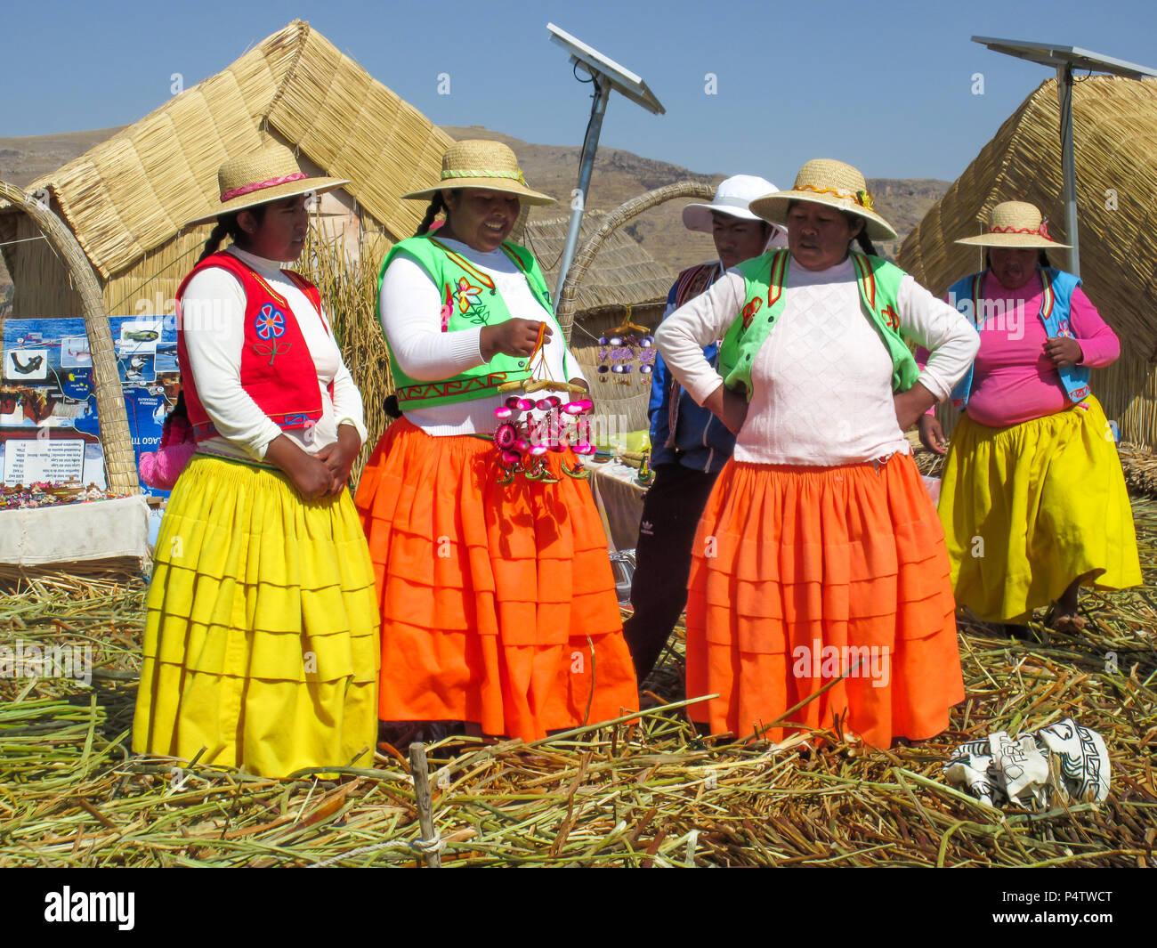 Women from Titicaca Lake - Stock Image