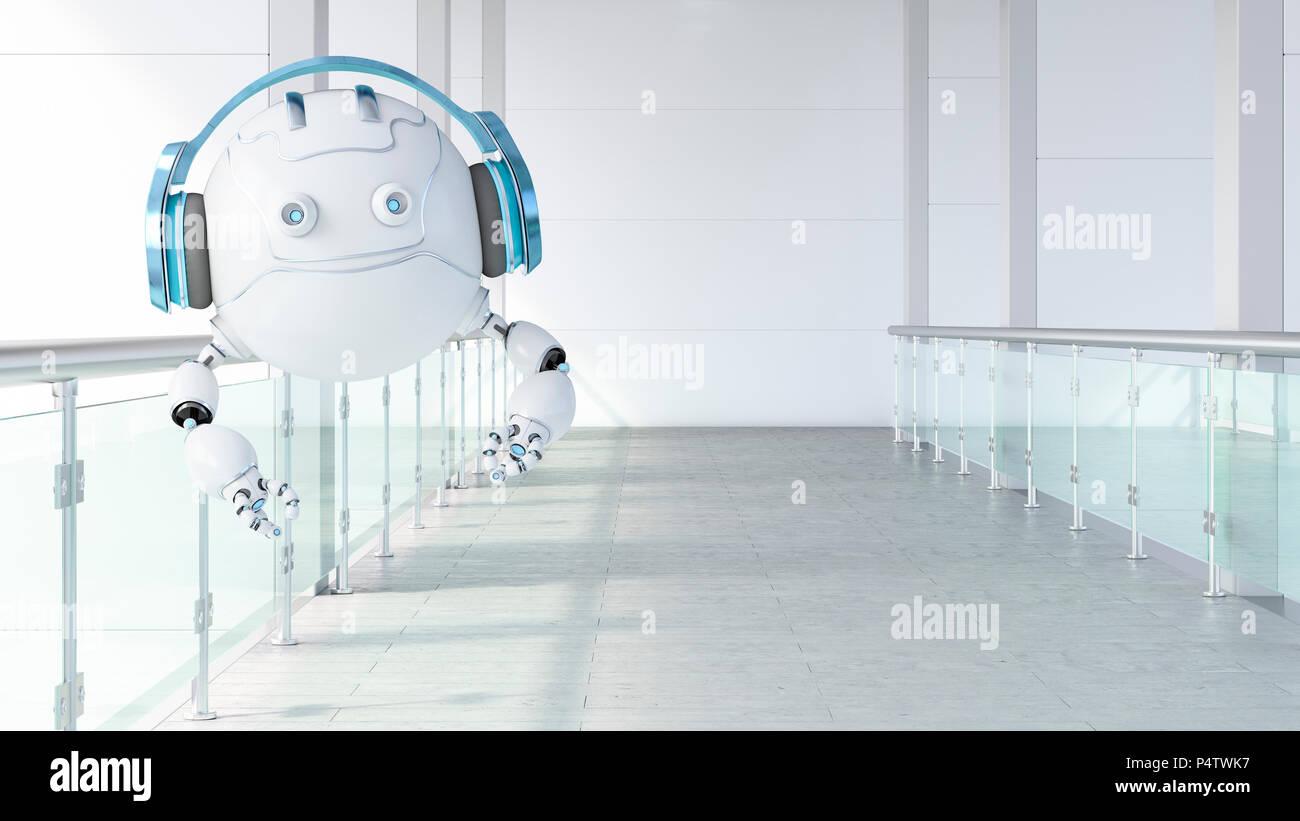 Robotic drone wearing headphones floating on galery, 3d rendering - Stock Image