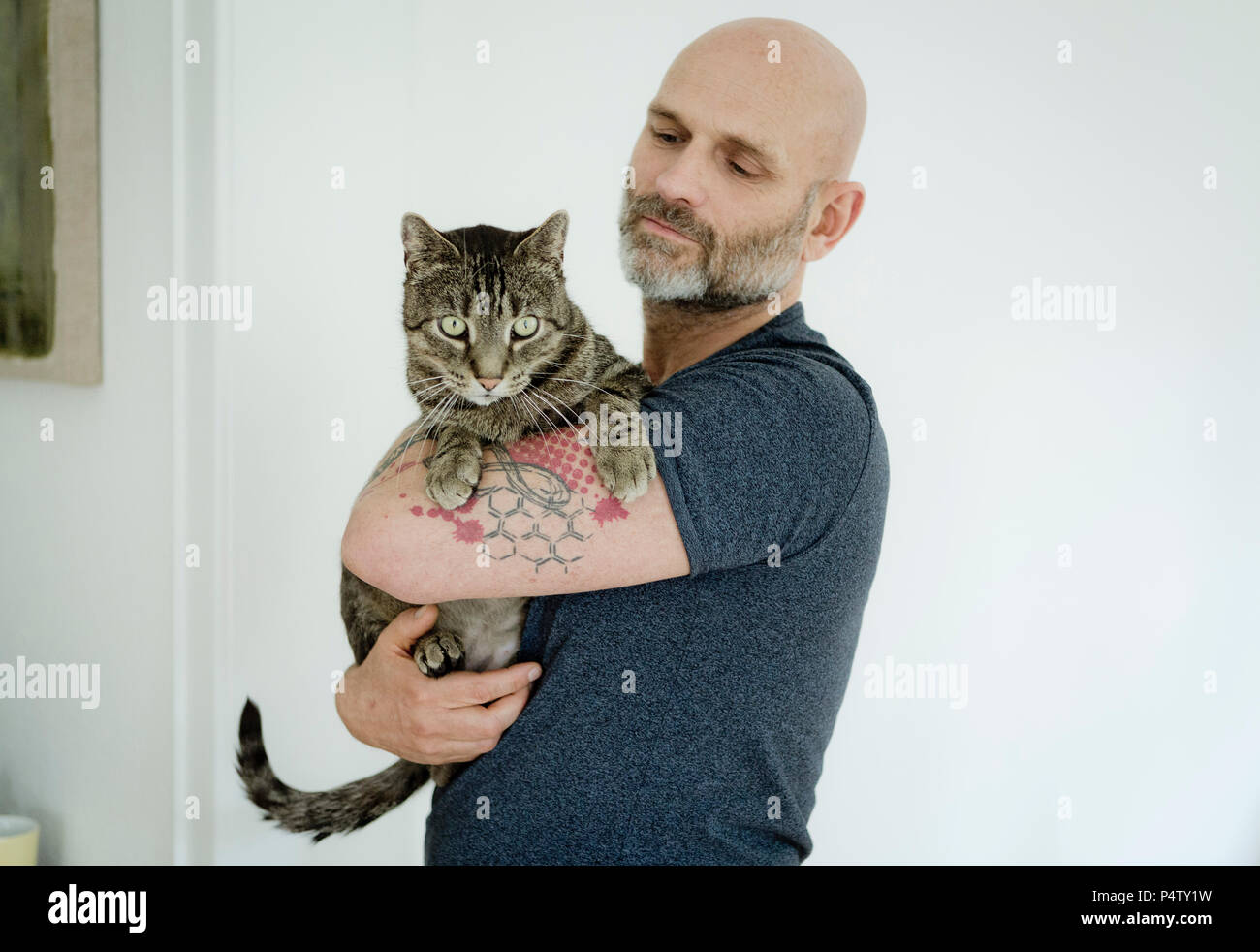 Tattooed man carrying his cat Stock Photo