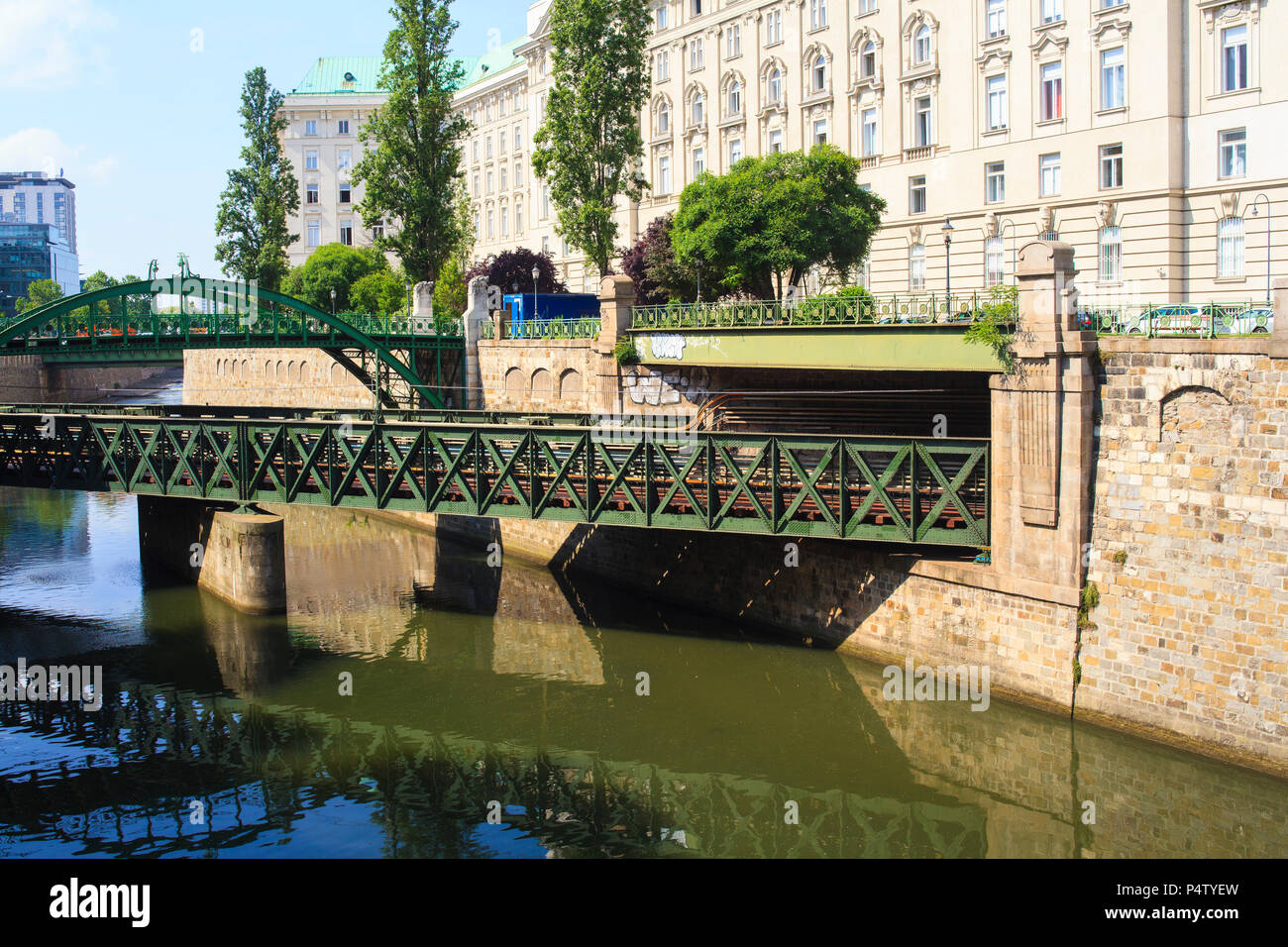 View Of The Art Nouveau Bridge Over The Railway Vienna Austria Stock Photo Alamy