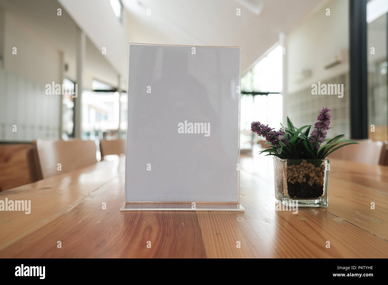 White Label In Cafe Display Stand For Acrylic Tent Card In Coffee Shop Mockup Menu Frame On Table In Bar Restaurant Space For Text Stock Photo Alamy