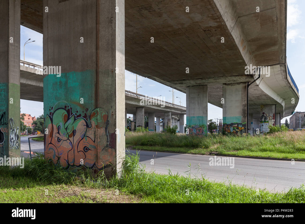 Szczecin, Poland, highways in the harbor - Stock Image