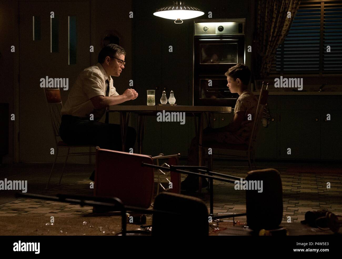 Original Film Title: SUBURBICON.  English Title: SUBURBICON.  Film Director: GEORGE CLOONEY.  Year: 2017.  Stars: MATT DAMON; NOAH JUPE. Credit: BLACK BEAR PICTURES / GAYLE, HILARY BRONWYN / Album - Stock Image
