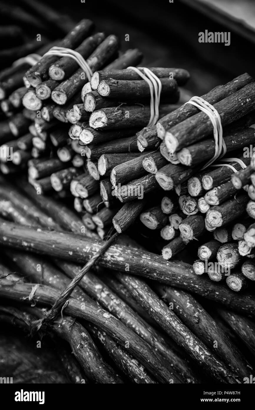 Dry licorice sticks, flavor detail, intense - Stock Image