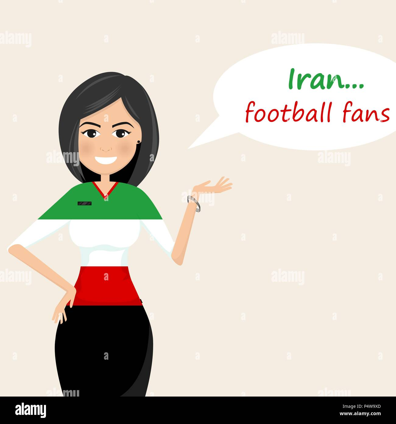 Iran football fans.Cheerful soccer fans, sports images.Young woman,Pretty girl sign.Happy fans are cheering for their team.Vector illustration - Stock Vector