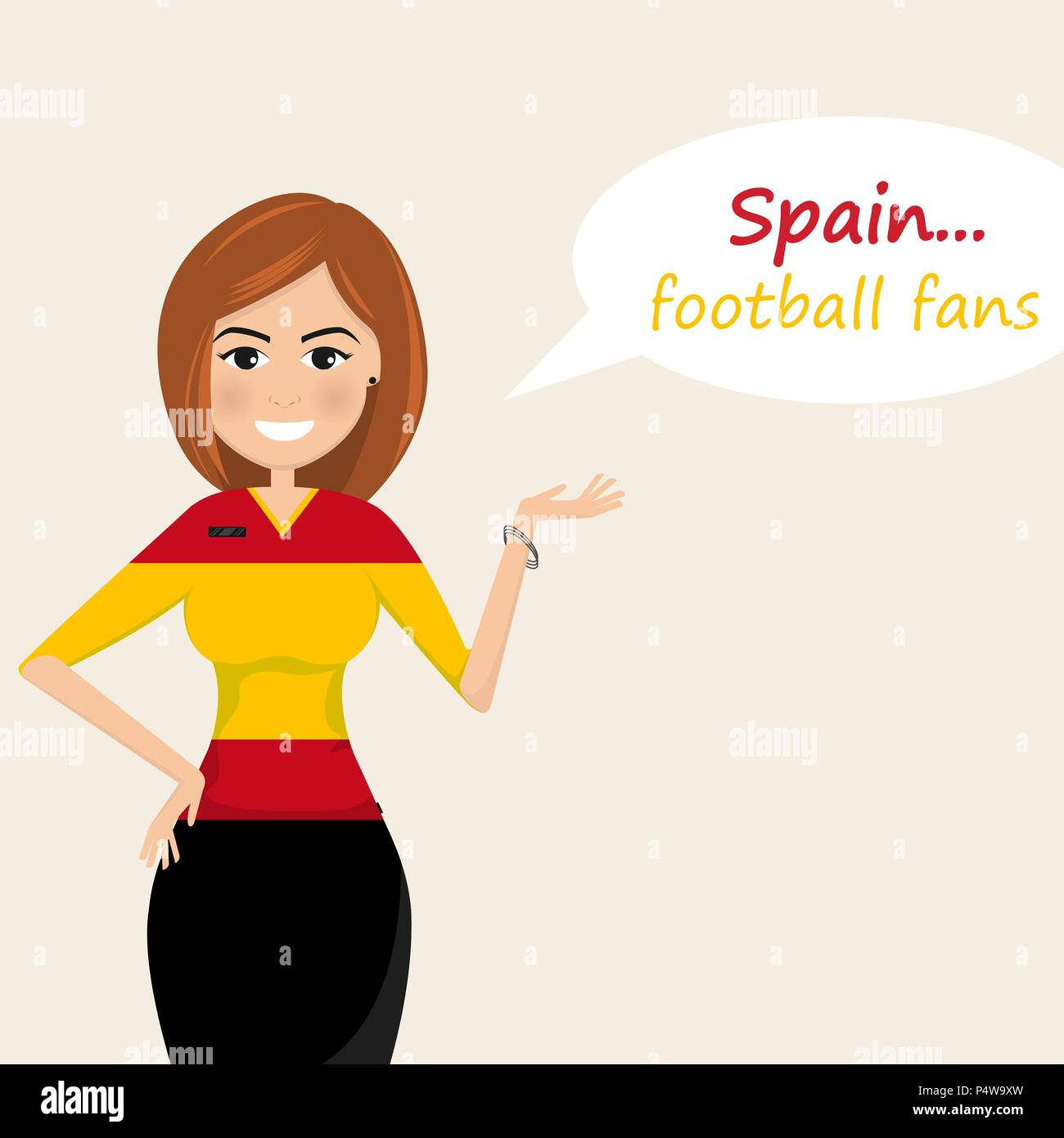 Spain football fans.Cheerful soccer fans, sports images.Young woman,Pretty girl sign.Happy fans are cheering for their team.Vector illustration - Stock Vector