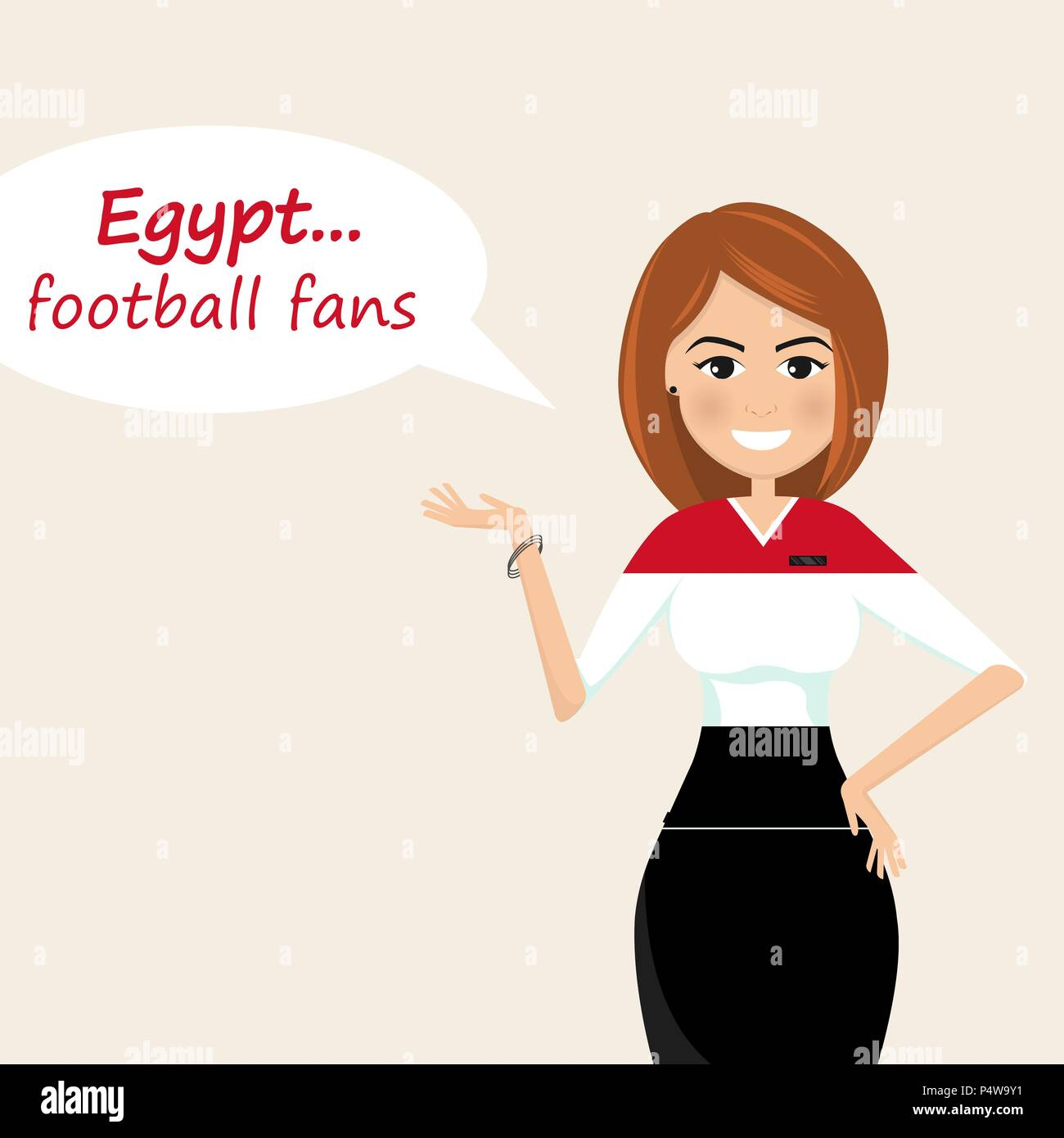 Egypt football fans.Cheerful soccer fans, sports images.Young woman,Pretty girl sign.Happy fans are cheering for their team.Vector illustration - Stock Vector