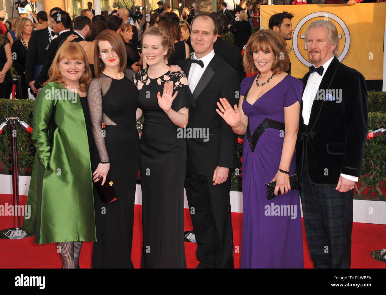 Sophie McShera, Cara Theobold, Lesley Nicol, Kevin Doyle, Phyllis Logan, and David Robb arriving at the 20th SAG Awards 2014 at the Shrine Auditorium in Los Angeles.Sophie McShera, Cara Theobold, Lesley Nicol, Kevin Doyle, Phyllis Logan, and David Robb  Event in Hollywood Life - California, Red Carpet Event, USA, Film Industry, Celebrities, Photography, Bestof, Arts Culture and Entertainment, Topix Celebrities fashion, Best of, Hollywood Life, Event in Hollywood Life - California, Red Carpet and backstage, movie celebrities, TV celebrities, Music celebrities, Topix, actors from the same movie, - Stock Image