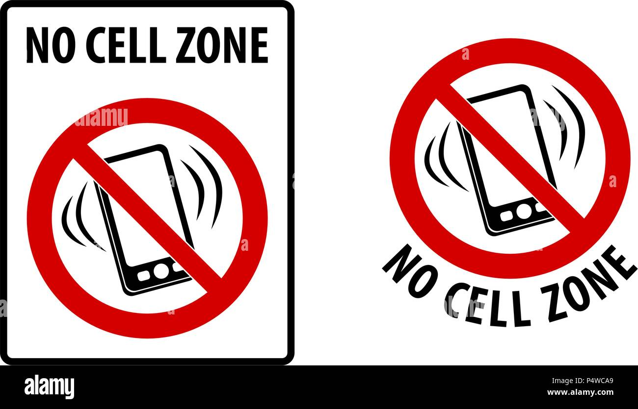 No cell zone sign. Simple black lines drawing of mobile phone symbol in red crossed circle. Rectangle and round version. - Stock Image
