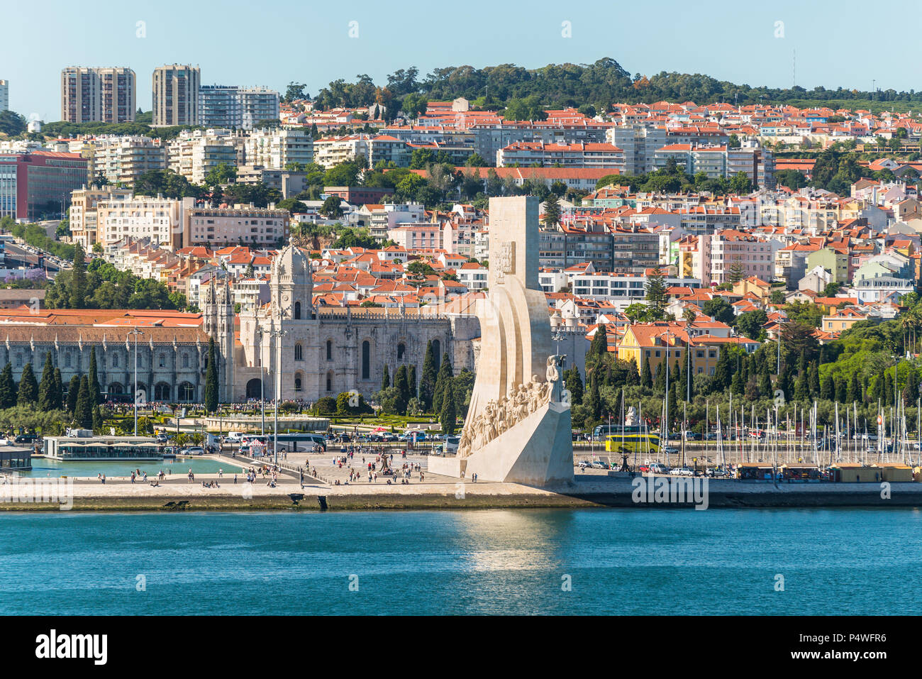 Lisbon, Portugal - May 19, 2017: View of Monument to the Discoveries (Padrao dos Descobrimentos) on bank of the Tagus River, Belem district, Lisbon, P - Stock Image