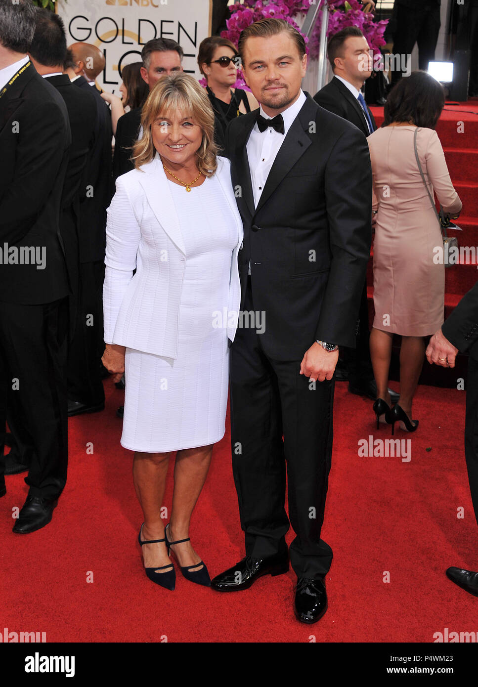 Leonardo Dicaprio And Mom At The 2014 Golden Globes Awards At The