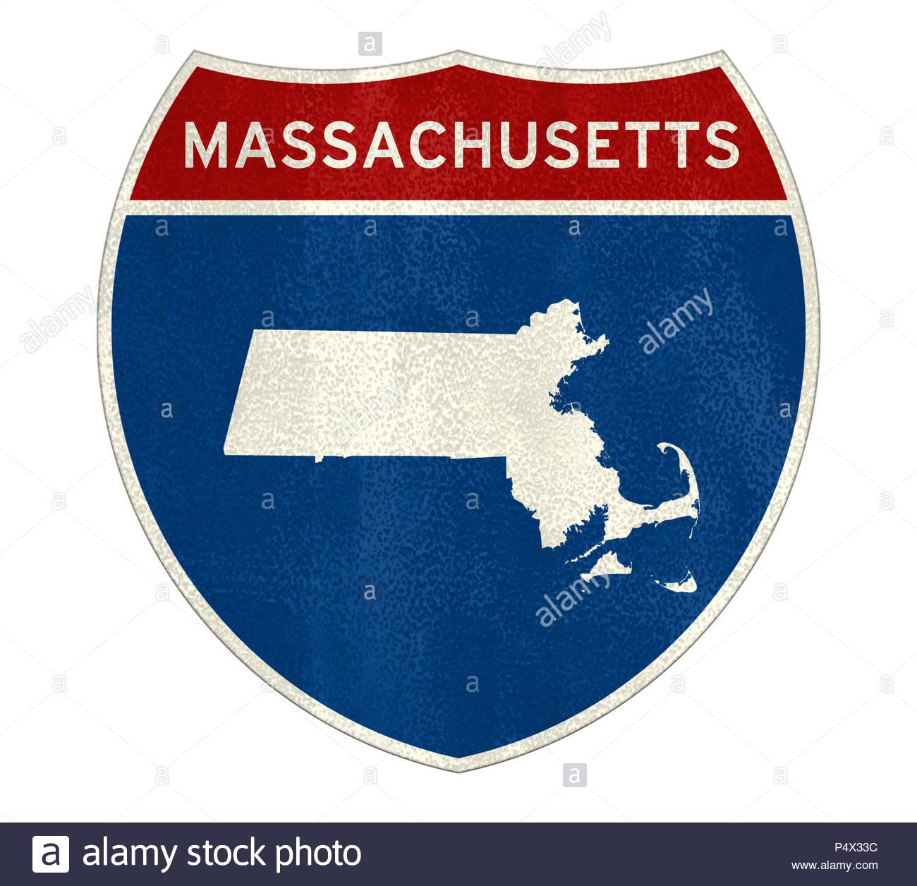 Massachusetts State Interstate road sign - Stock Image