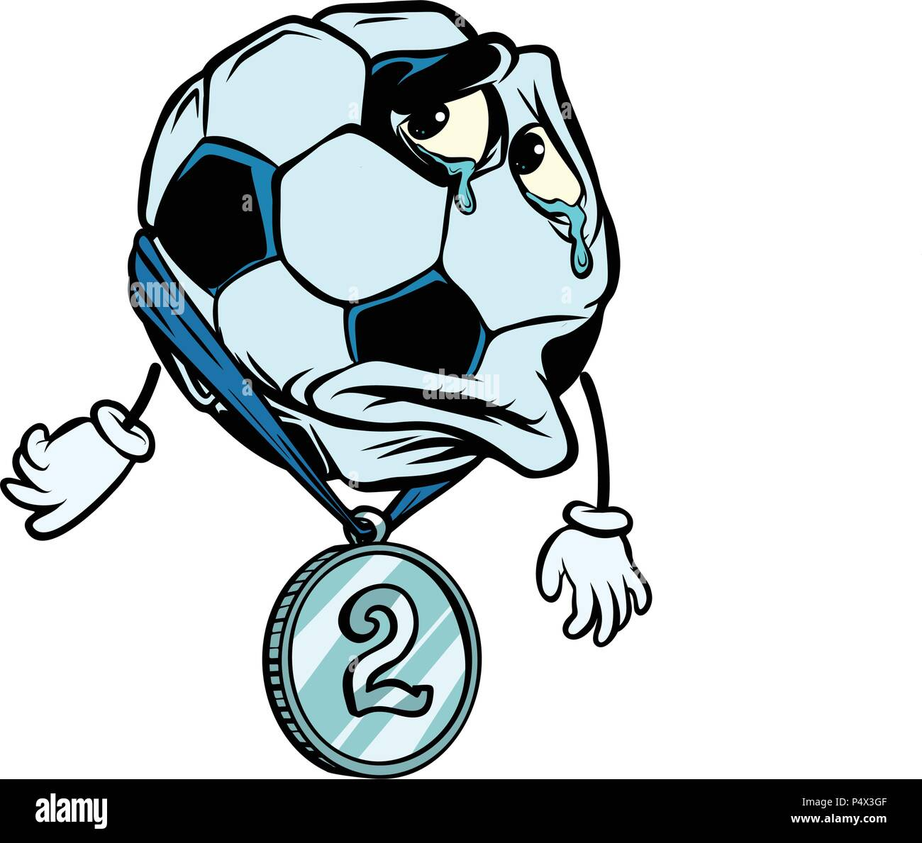 Failure second place silver medal. Character soccer ball footbal - Stock Image