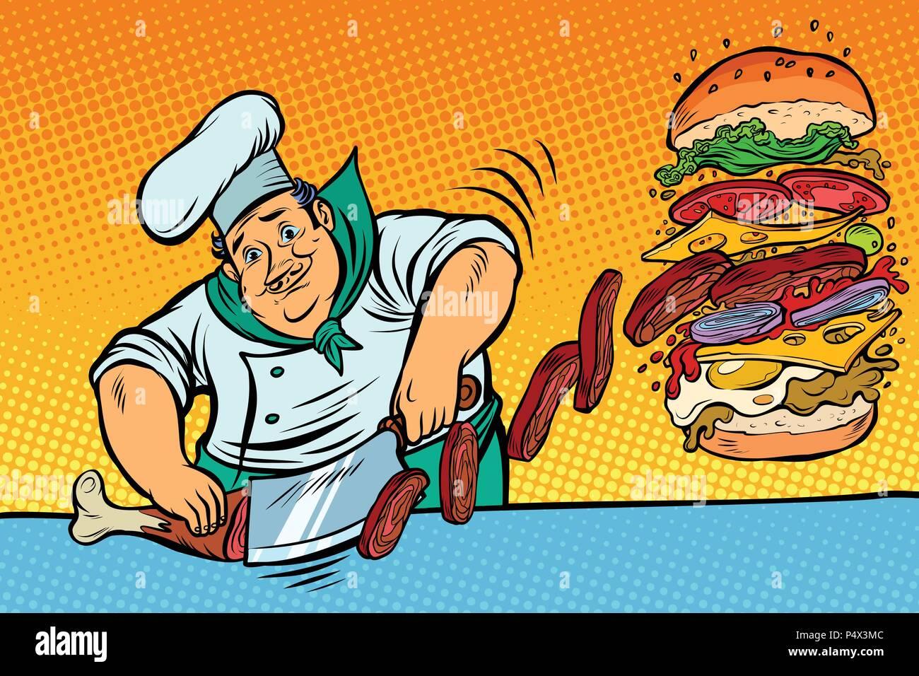 Cook prepares Burger. Fast food restaurant - Stock Vector