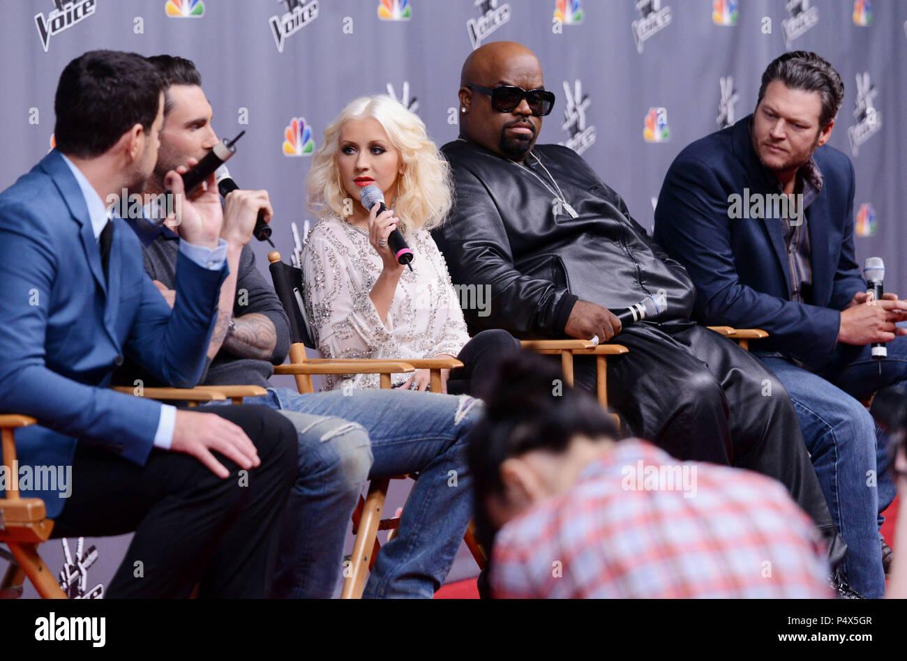 Carson Daly, Adam Levine, CeeLo Green, Christina Aguilera