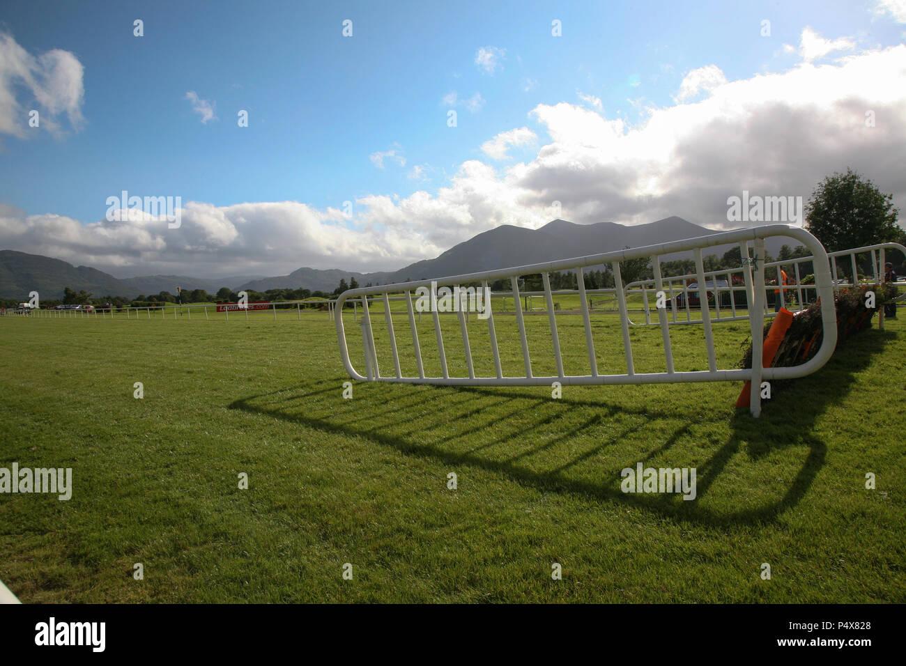 Killarney Horse Race track, fenced jump, County Kerry, Ireland. - Stock Image