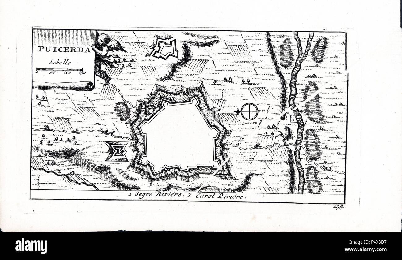 Plano de la villa fortificada de Puigcerdá. Grabado del s. XVIII. - Stock Image