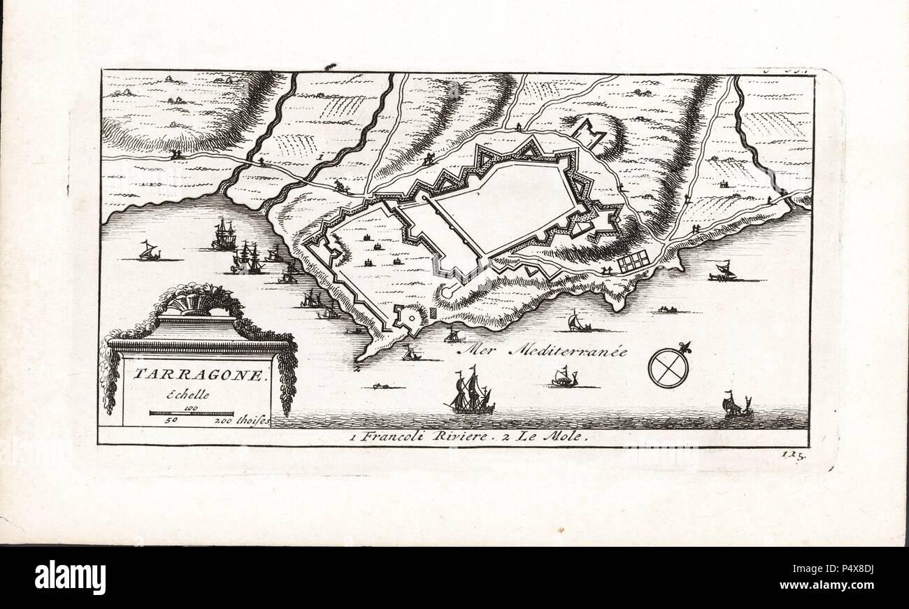 Plano de la ciudad fortificada de Tarragona. Grabado del s. XVIII. - Stock Image