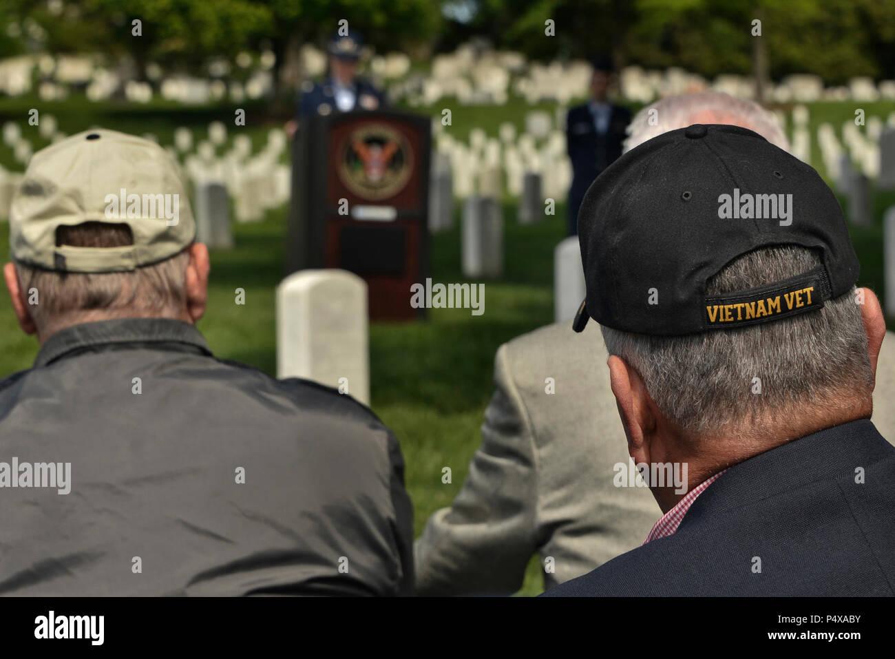 U S  Air Force Vietnam Veterans listen as Lt  Col  Laura