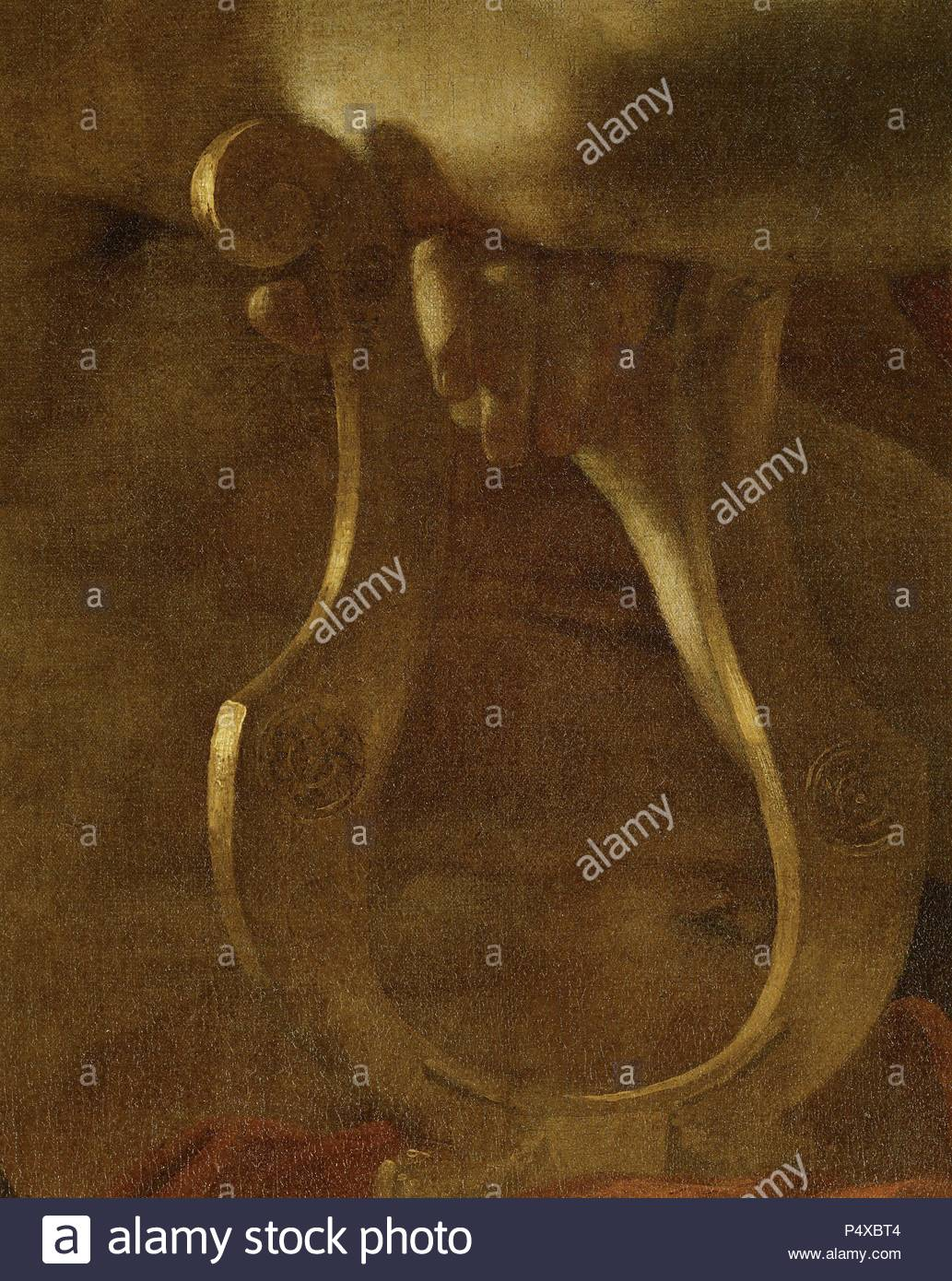 5bcbde1d0362 L inspiration du poete - The poet s inspiration. Detail of lyre. For  overall view please see 40-11-05 8. Oil on canvas (1638) 182 x 213 cm RF  1774.