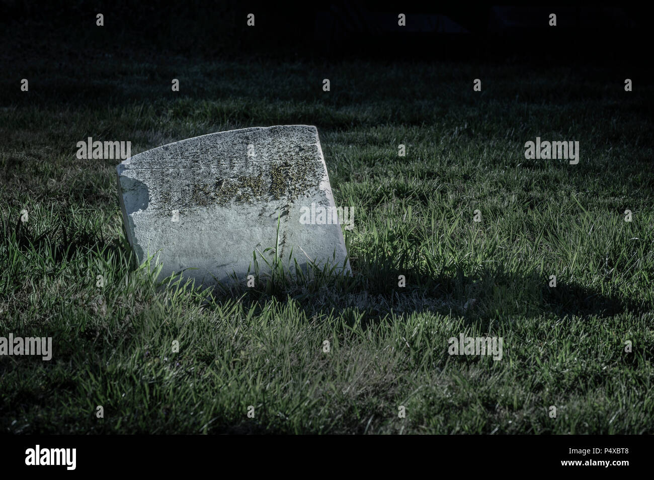 Blank Tombstone In Cemetery At Night - Stock Image