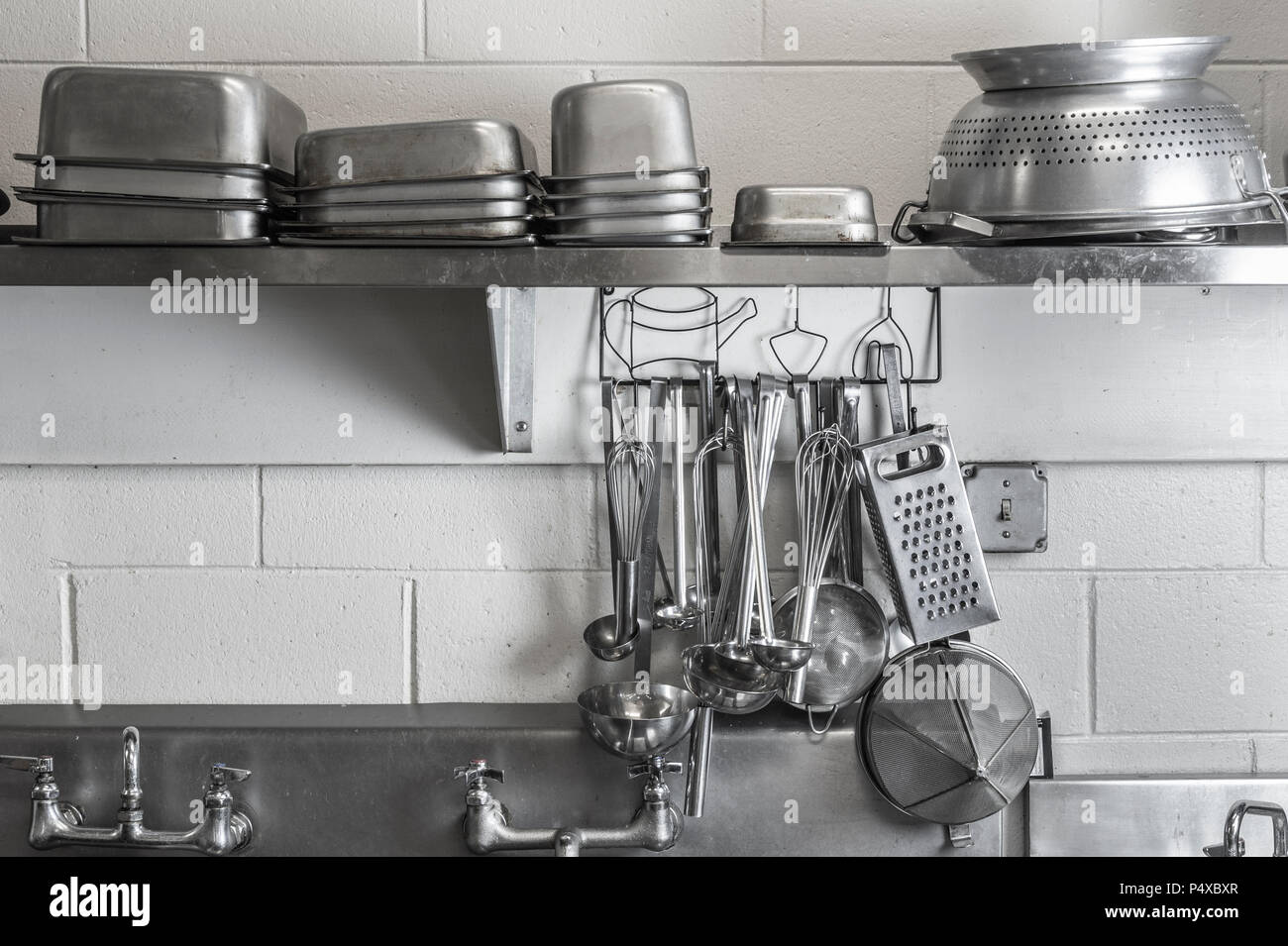 Restaurant Commercial Kitchen Stainless Steel Cooking Utensils Stock Photo Alamy