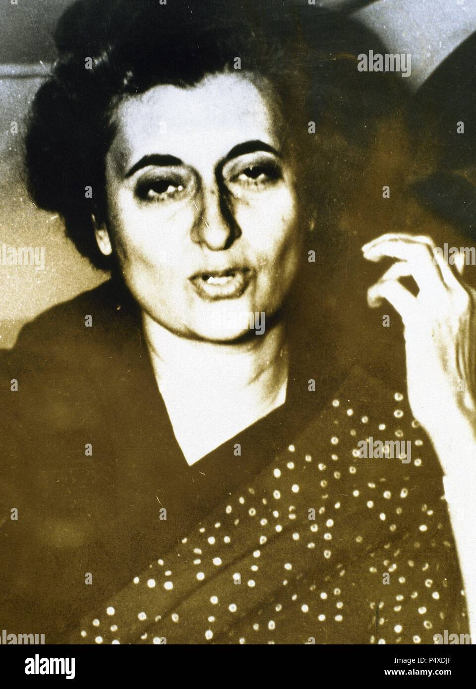 Indira Gandhi (1917-1984). Indian politician and the leader of the Indian National Congress. She was the third Prime Minister of the Republic of India for three consecutive terms from 1966 to 1977 and for a fourth term from 1980 until her assassination in 1984. - Stock Image