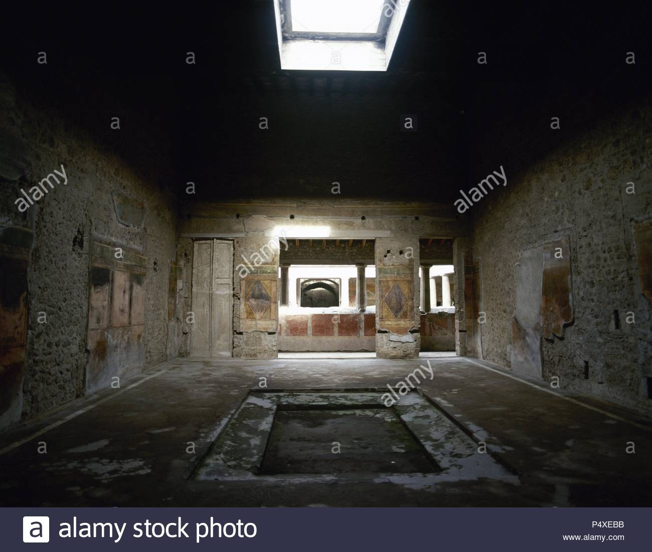 Pompeii. Ancient Roman city. Villa of the Mysteries. View of one of its rooms. 2nd century BC. Campania, Italy. - Stock Image