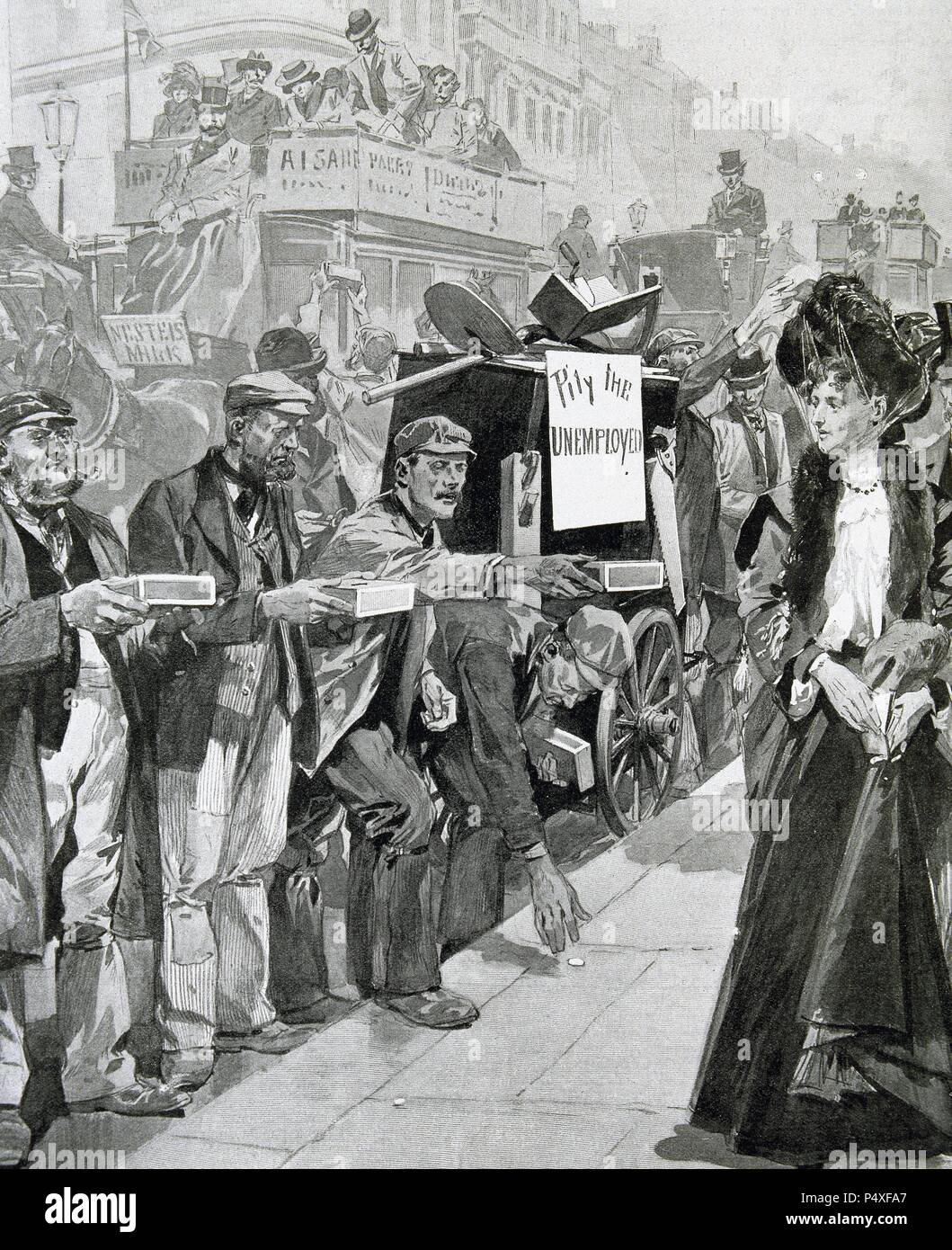 England. Economic Crisis (1903). Unemployed begging for alms on ...