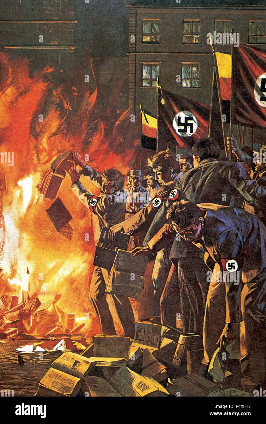 Nazism. Burning of books unrelated with the regime. Drawing. Stock Photo