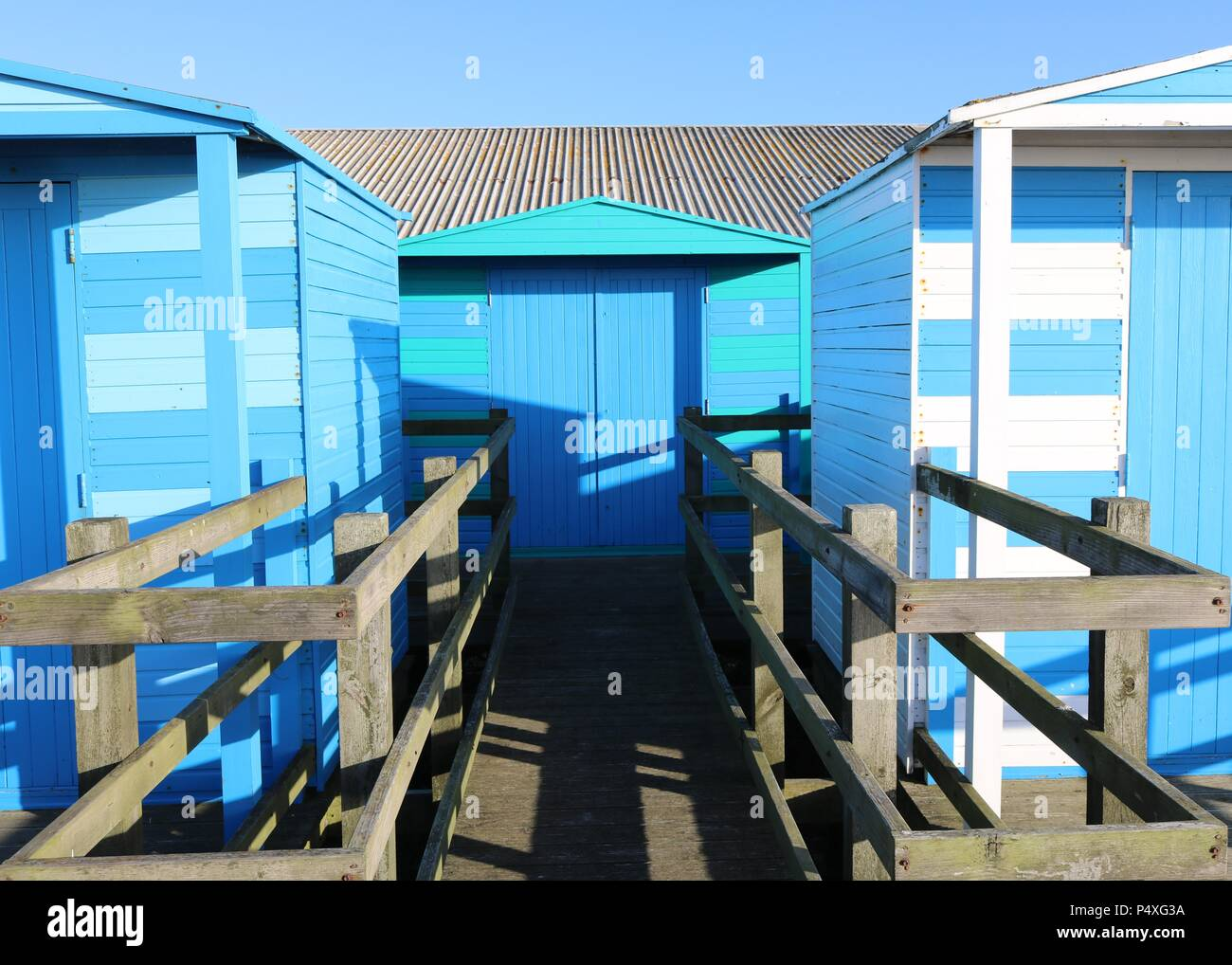Blue Beach Huts Whitstable Kent Stock Photo
