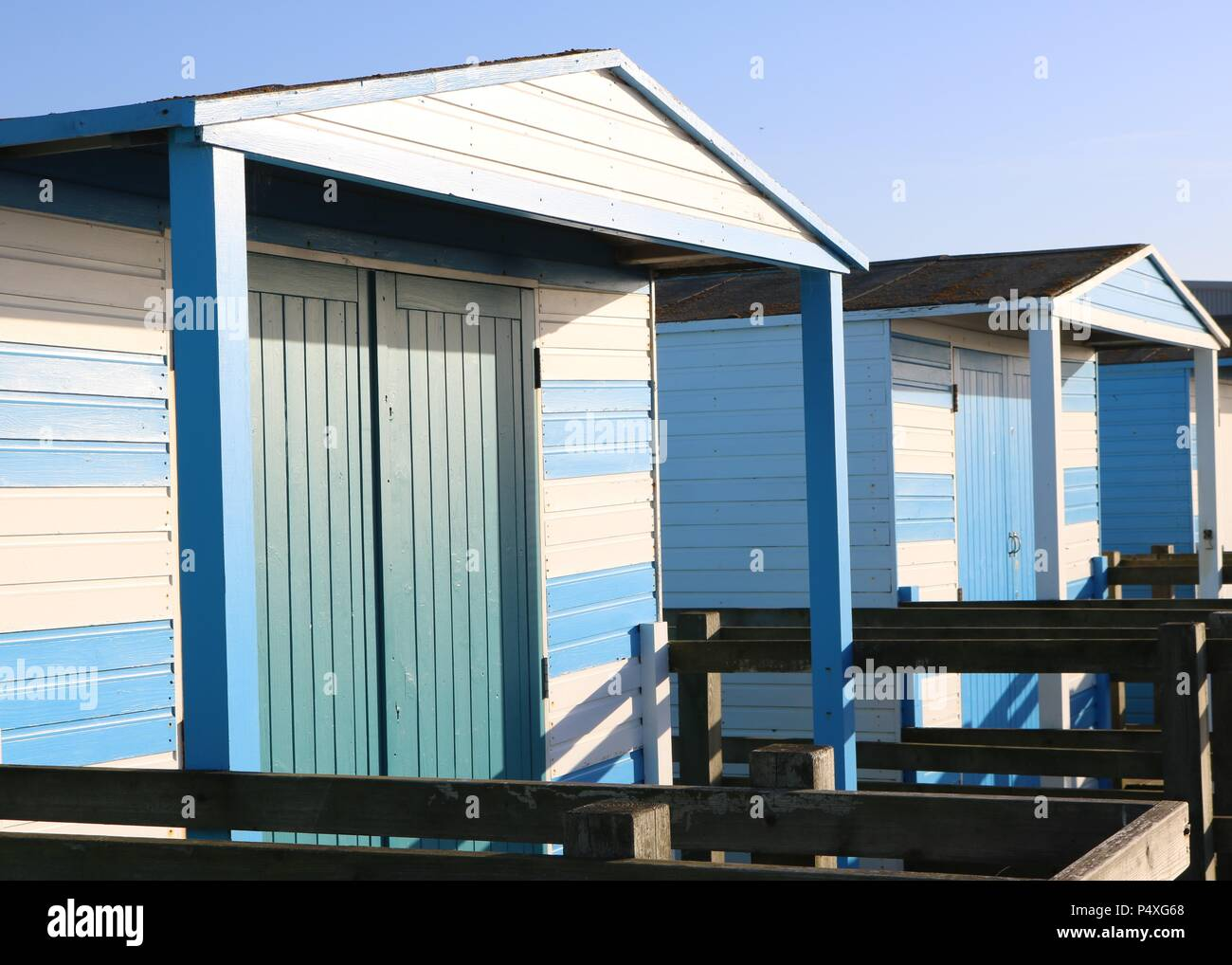 Colourful Beach Huts , Whitstable Kent Stock Photo
