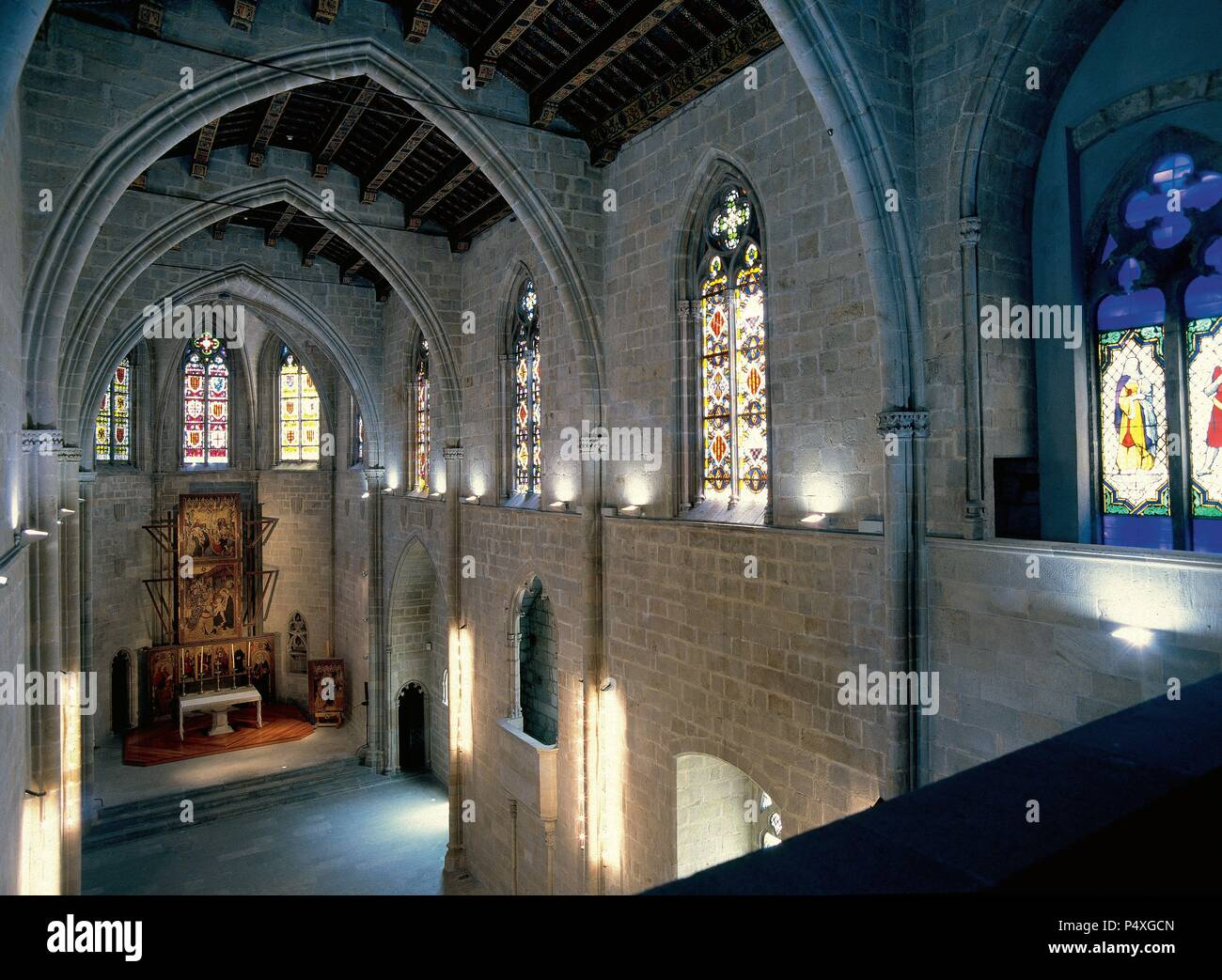 Spain. Barcelona. The Chapel of Santa Agata. Gothic building. Year 1302. The master builder Riquer Bertran was commissioned to start construction, followed in 1316 by Jaume and later by Pere d'Olivera. Inside. - Stock Image