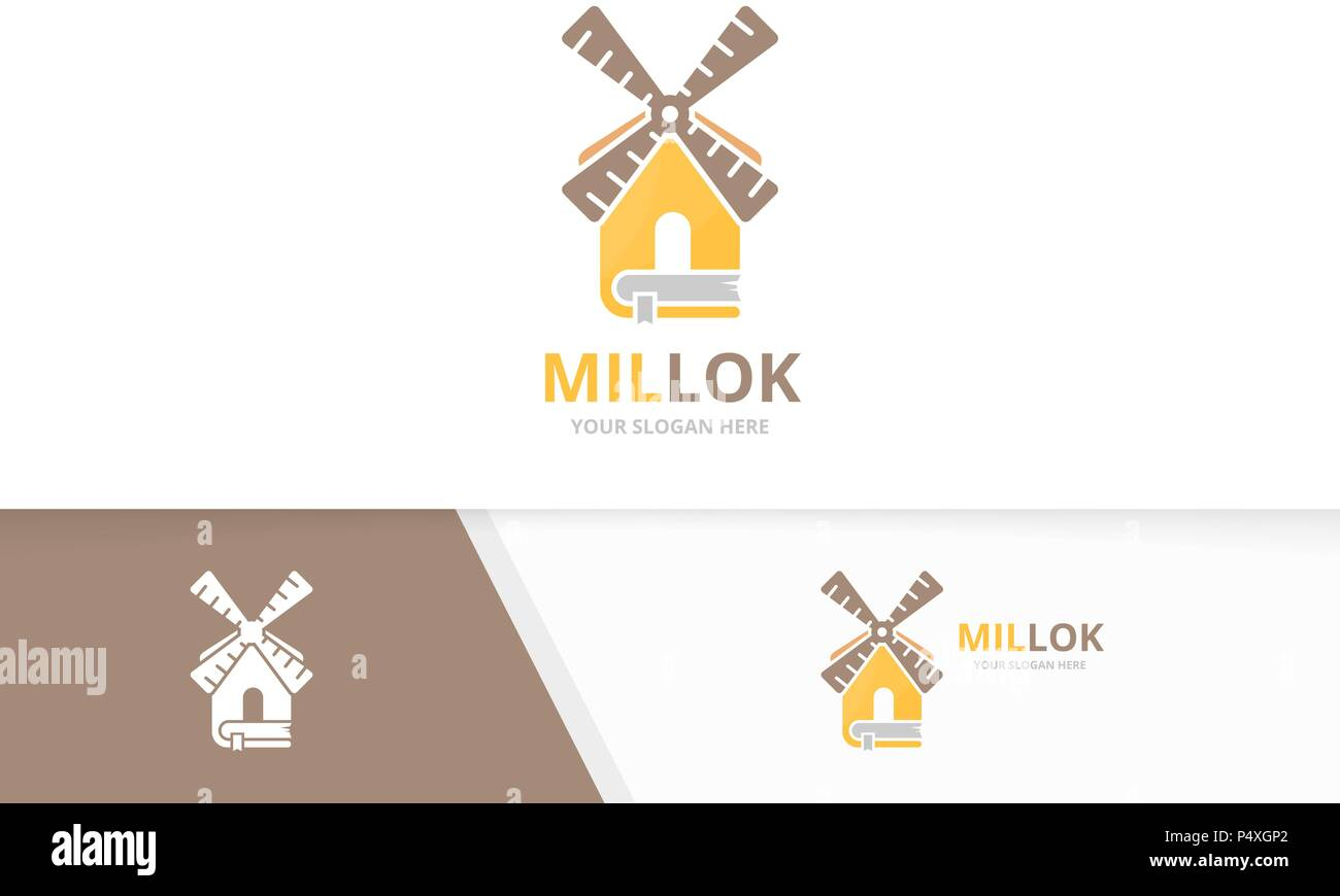 vector mill and book logo combination farm and library symbol or