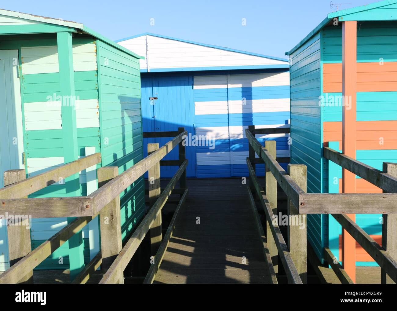 Colourful Beach Huts , Whitstable , Kent - Stock Image