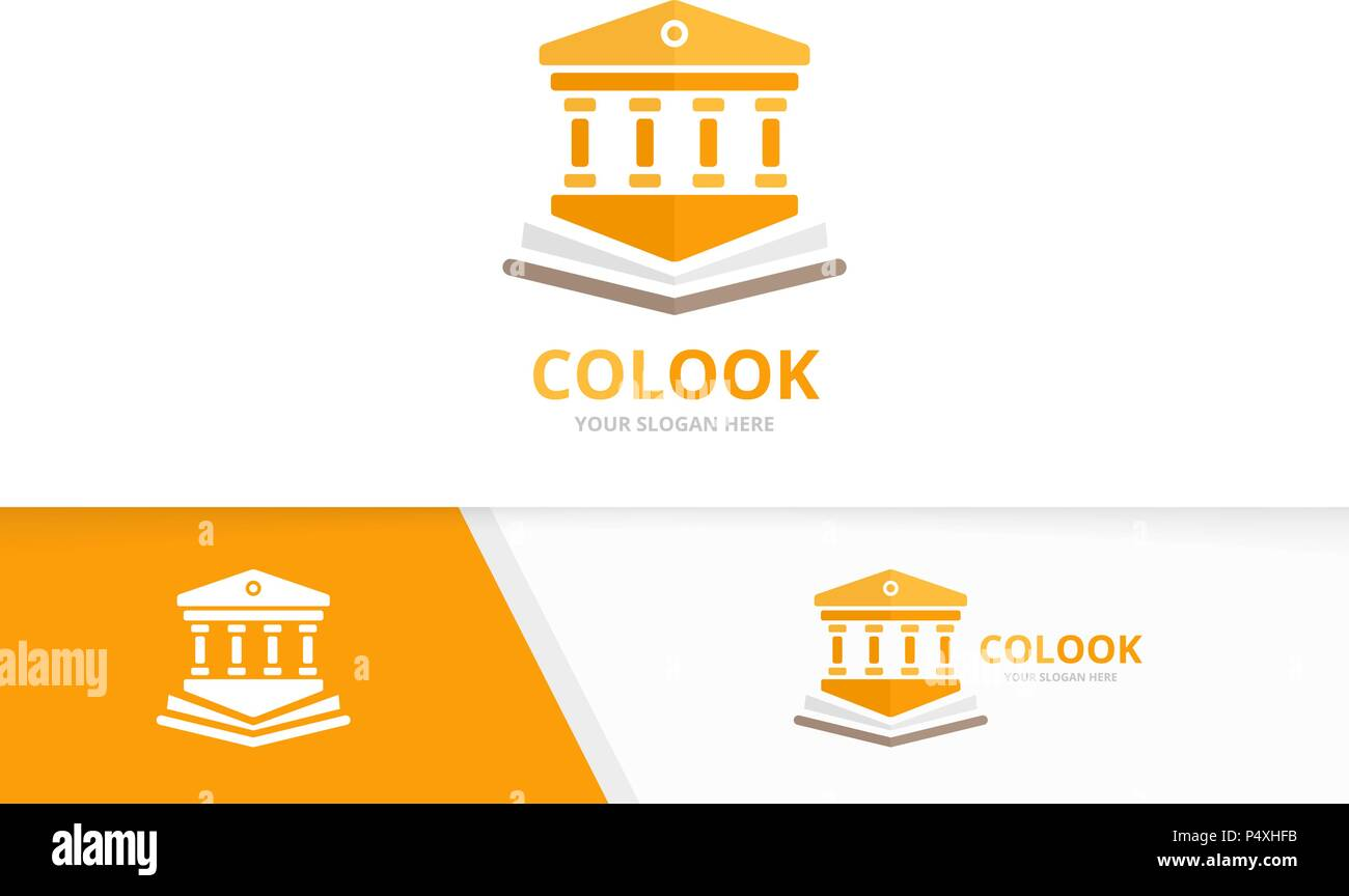 vector bank and open book logo combination column and bookstore
