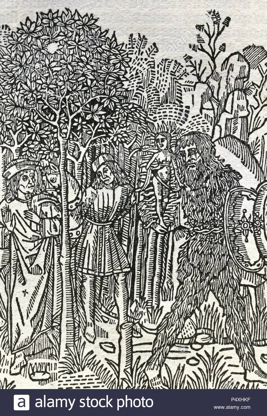 Diego de San Pedro (ca. 1437-ca. 1498). Spanish writer. The Prison of Love,  1492. Engraving. Edition in Barcelona in 1493. Catalan translation. Spain.