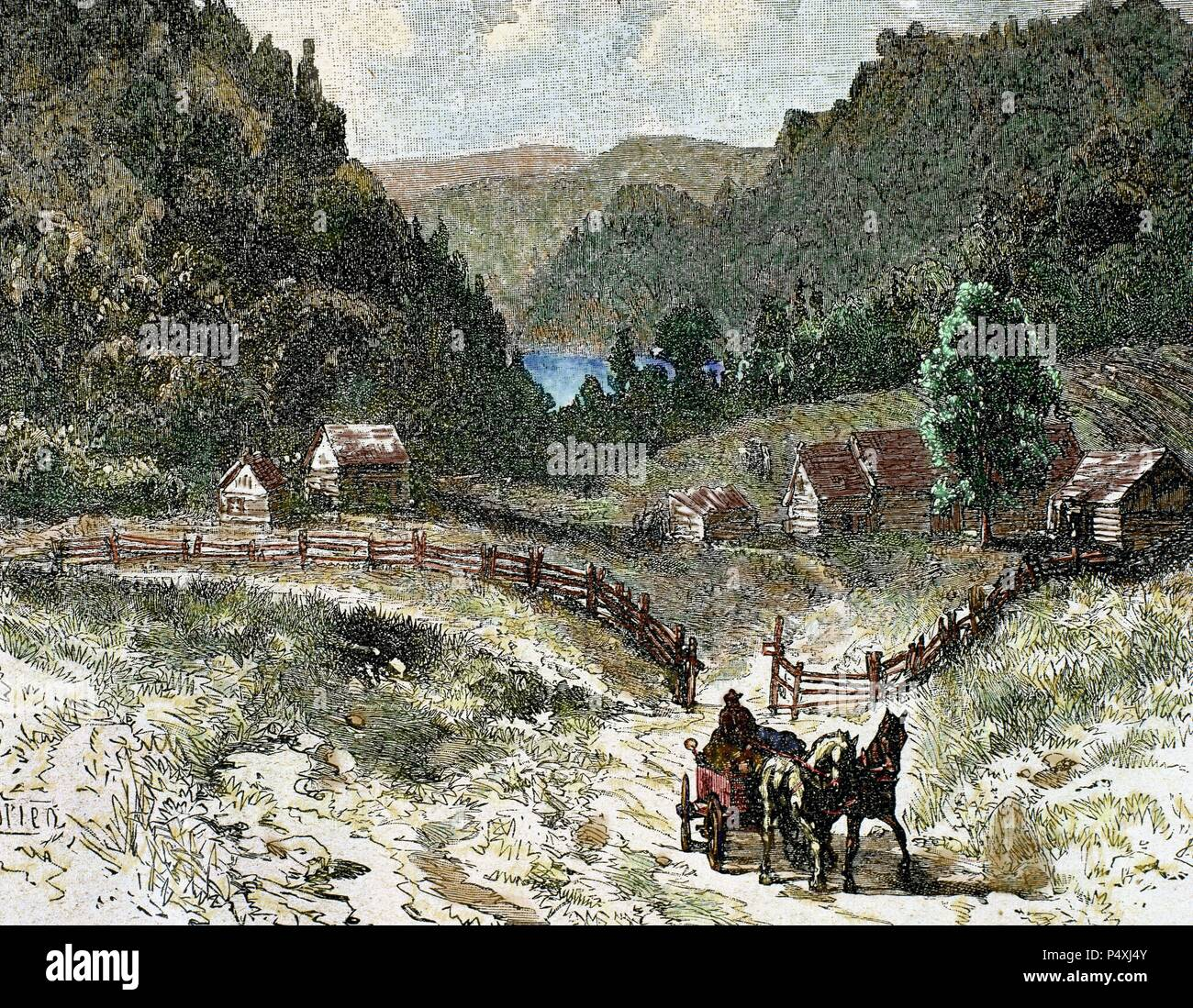 Canadian landscape in the eighteenth century. Nineteenth-century colored engraving. - Stock Image